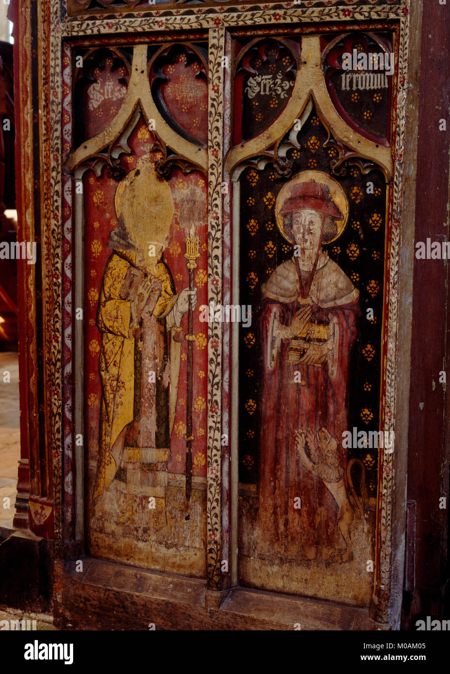 N half of C15th rood screen door in St Agnes' Church, Cawston: Flemish paintings of St Gregory dressed as the Pope Stock Photo