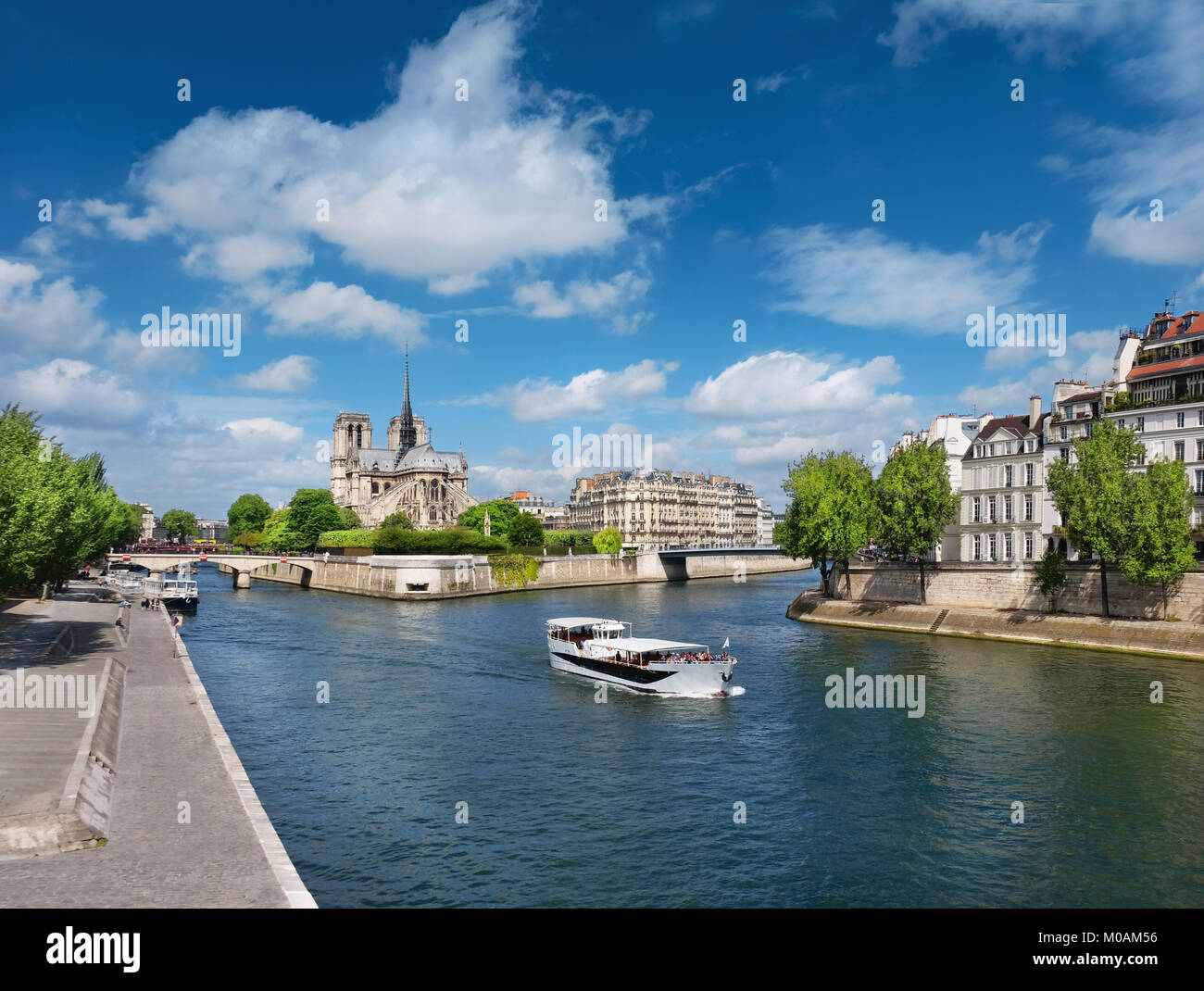 Paris in Spring. Touristic boat on the river passes Ile St Louis, with Notre Dame Cathedral behind. Panoramic toned - Stock Image