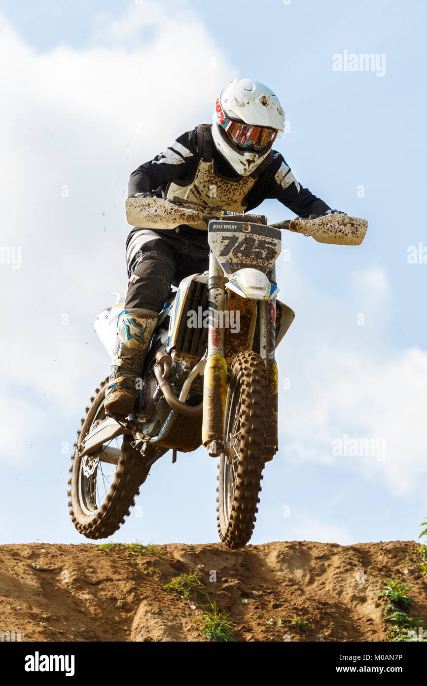 Kyle Wilby on the Husqvarna 350 at the NGR & ACU Eastern EVO Championships, Cadders Hill, Lyng, Norfolk, UK. - Stock Image