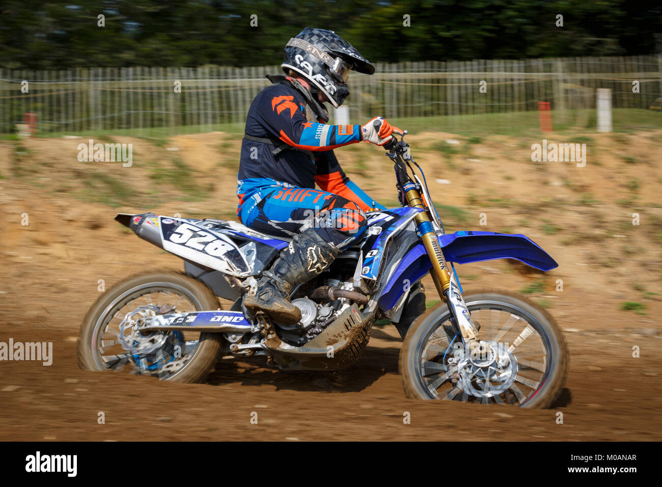 Thomas Clarke on the Yamaha 250 at the NGR & ACU Eastern EVO Championships, Cadders Hill, Lyng, Norfolk, UK. - Stock Image