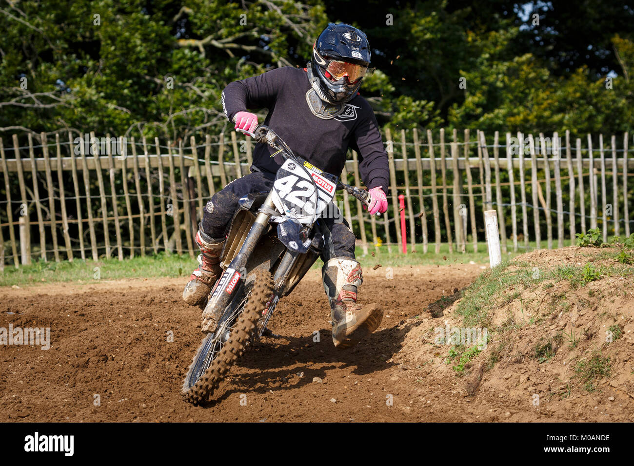 Oliver Clarke on the Yamaha 250 at the NGR & ACU Eastern EVO Championships, Cadders Hill, Lyng, Norfolk, UK. - Stock Image