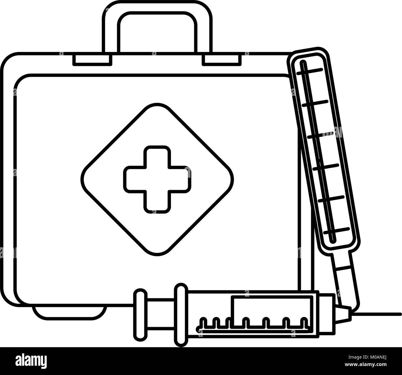 medical kit with thermometer and injection - Stock Image