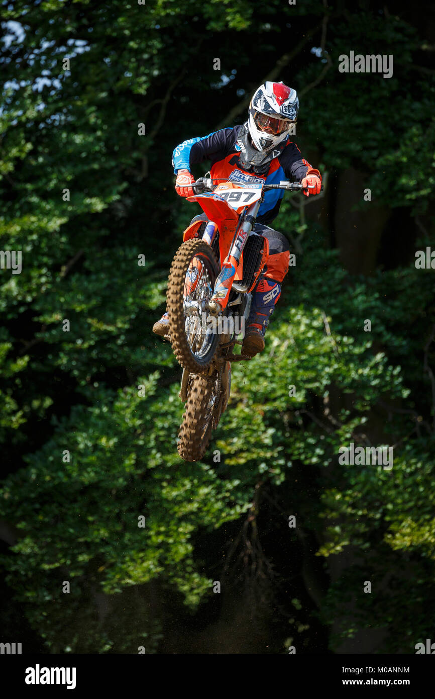 Harry Clark on the Jim Aim KTM 250 at the NGR & ACU Eastern EVO Championships, Cadders Hill, Lyng, Norfolk, UK. Stock Photo