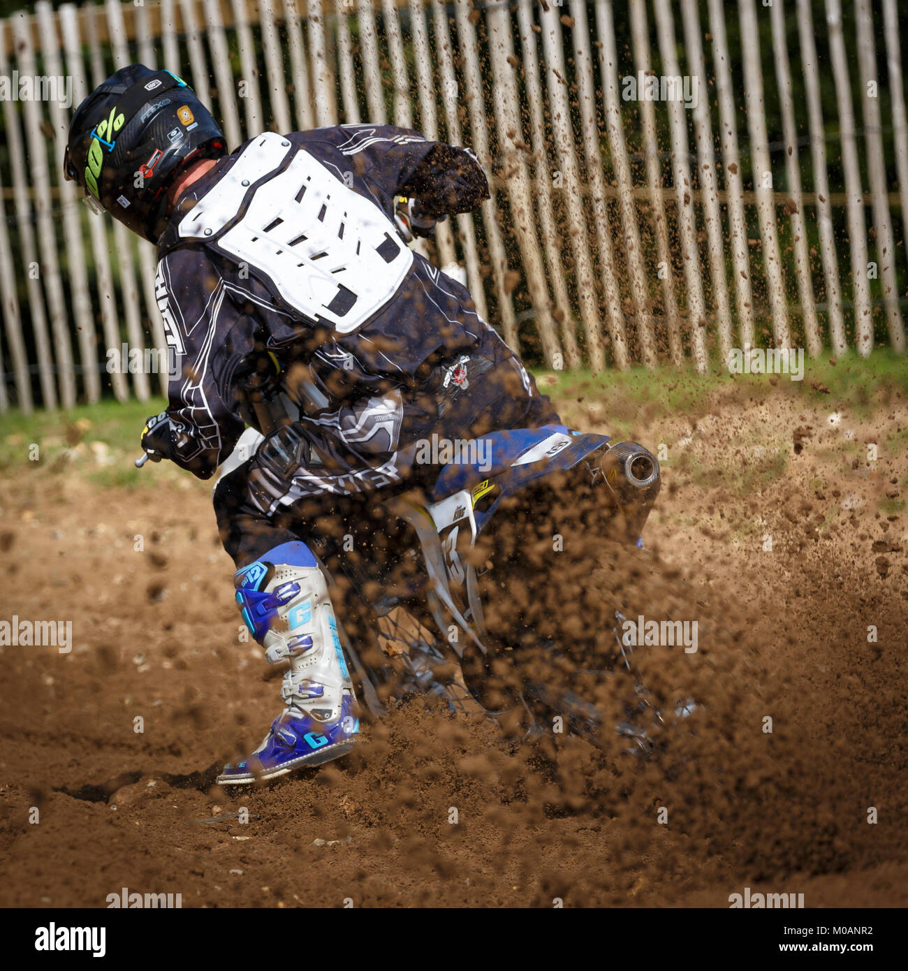 Justin King on the Husqvarna 250 at the NGR & ACU Eastern EVO Championships, Cadders Hill, Lyng, Norfolk, UK. - Stock Image