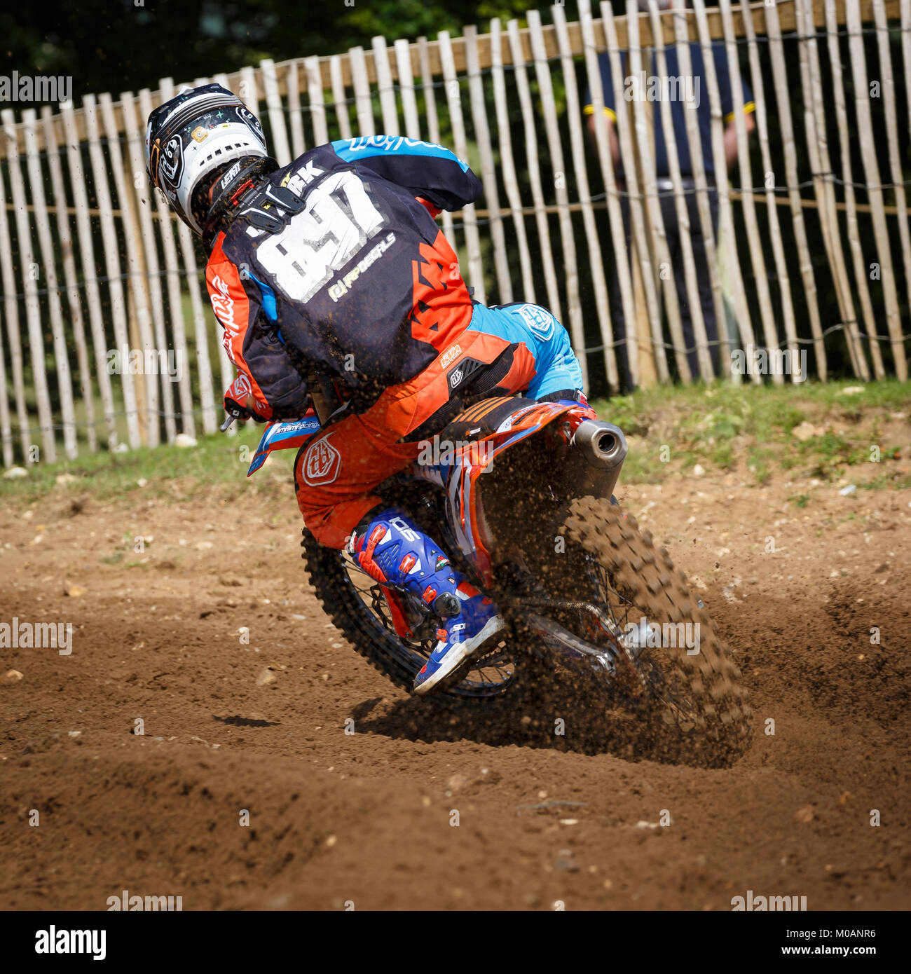 Harry Clark on the Jim Aim KTM 250 at the NGR & ACU Eastern EVO Championships, Cadders Hill, Lyng, Norfolk, - Stock Image