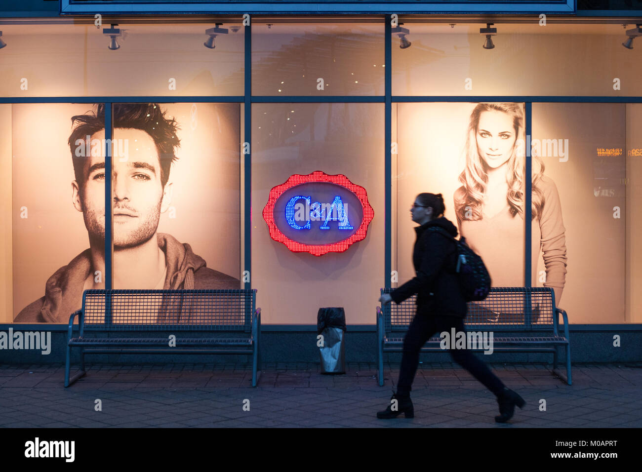 BUDAPEST, HUNGARY - Jan 09, 2018: C&A logo on a store in Budapest. C&A is an international chain of fast - Stock Image