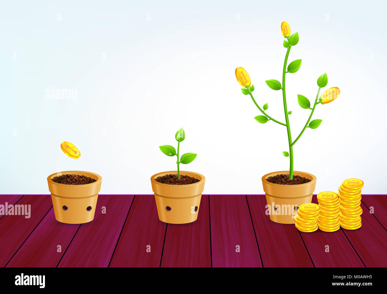 Growing money tree. Successful business strategy, money saving, investment and pension plan concept with seed, sprout - Stock Image