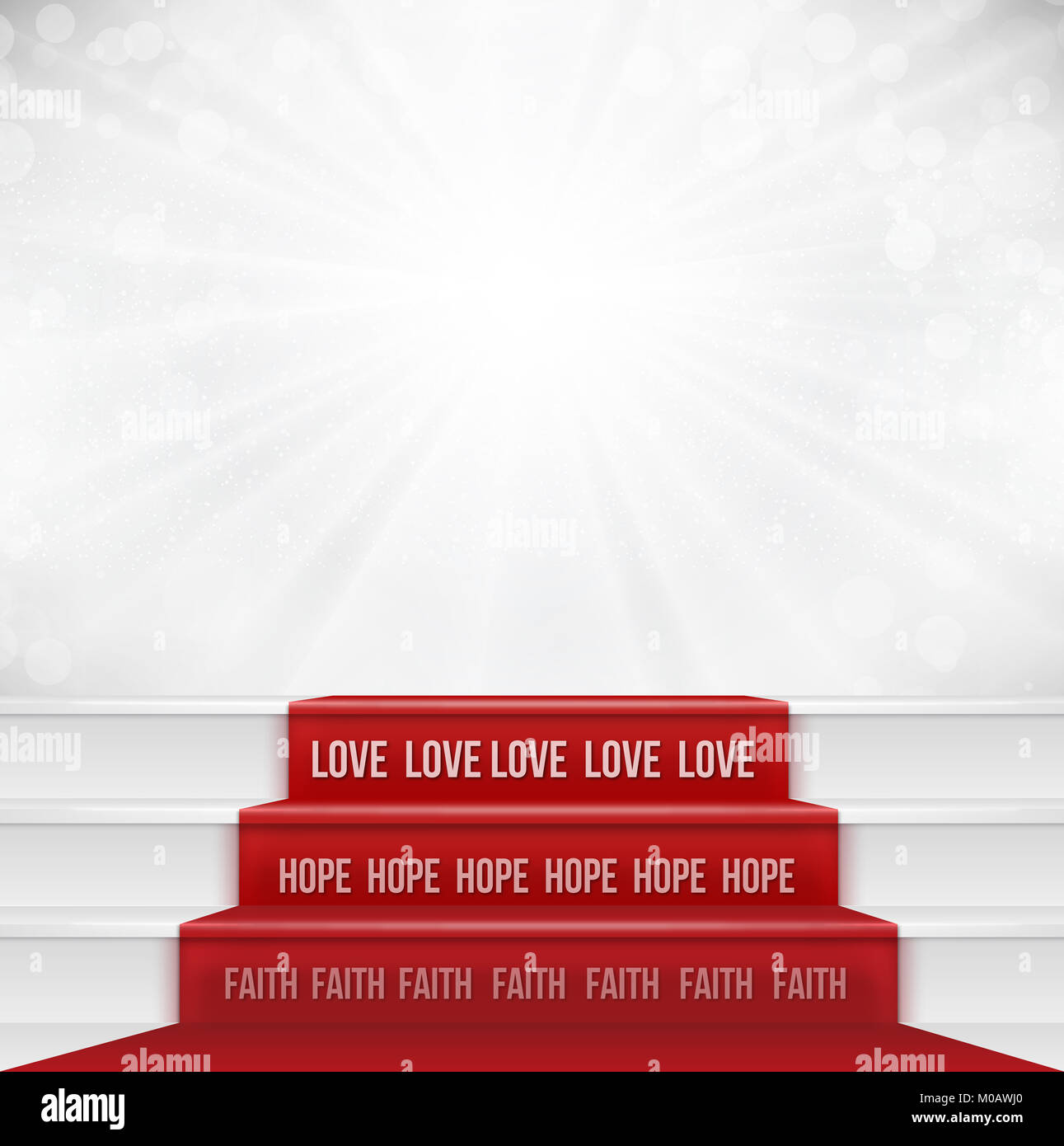 Faith Hope Love concept from bible quotation represent by steps showing the greatest of all is love. Negative space - Stock Image