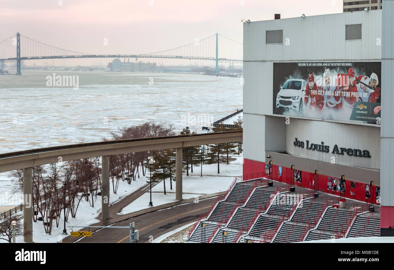Detroit, Michigan - The Joe Louis Arena on the Detroit River. The arena was home to the Detroit Red Wings of the - Stock Image