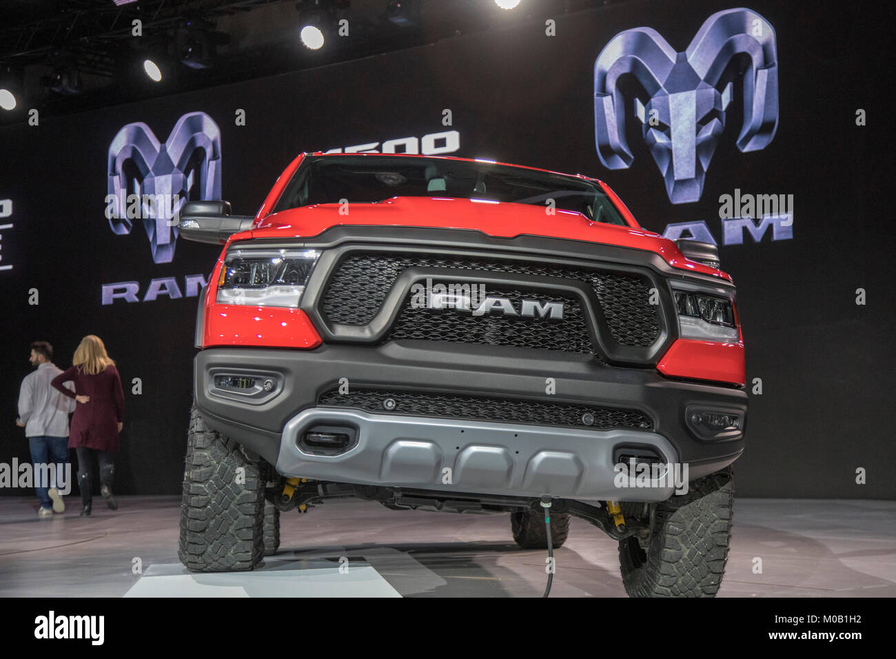 Detroit, Michigan - The 2019 Dodge Ram 1500 on display at the North American International Auto Show. - Stock Image