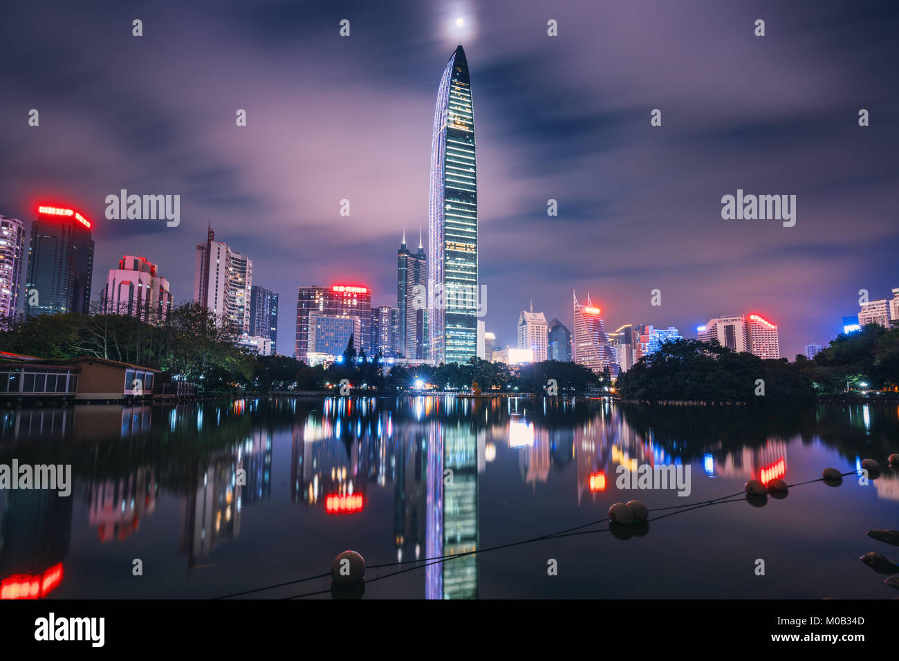 view on skyscraper Kingkey 100 from Lici park, Shenzhen, China - Stock Image