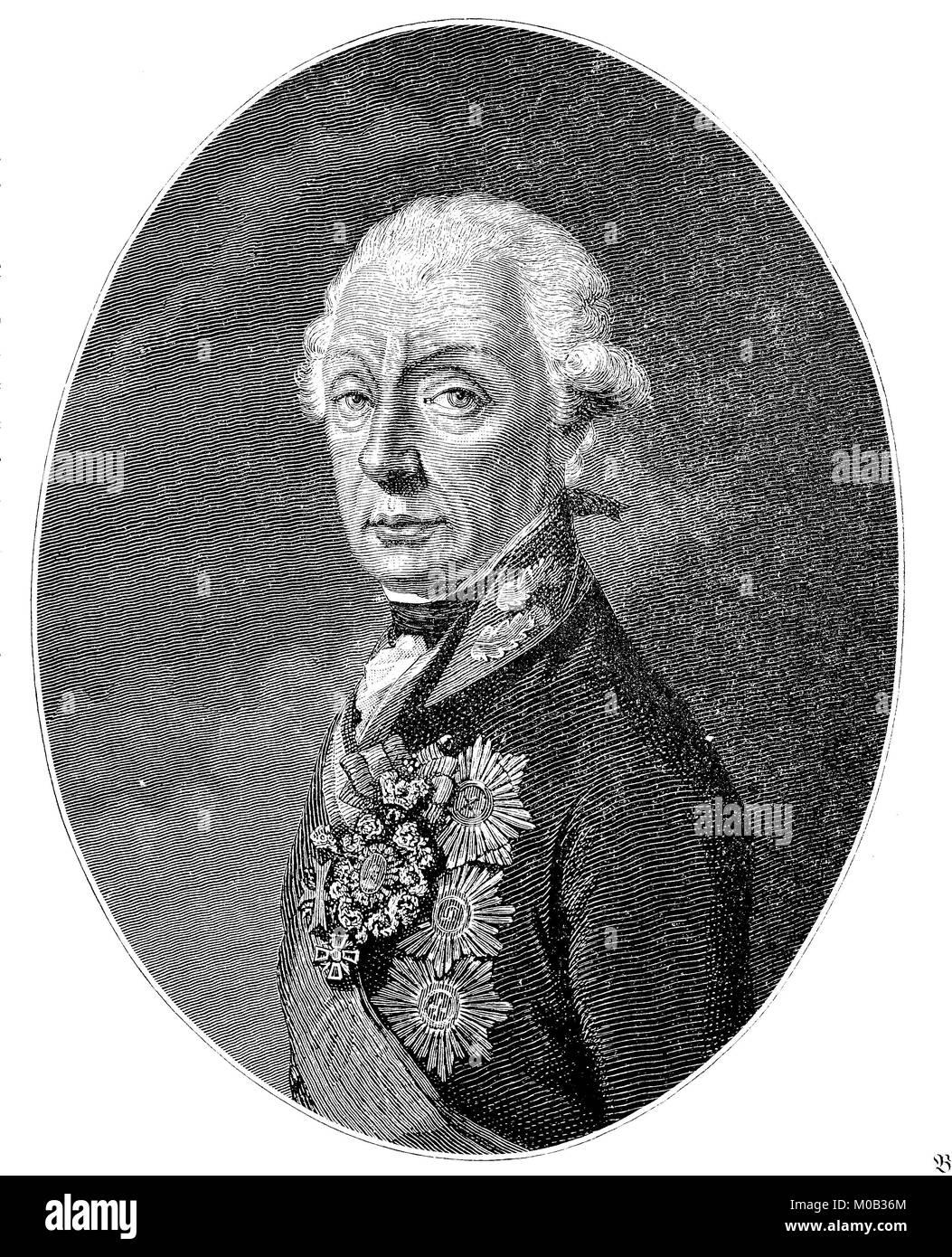 Alexander Vasilyevich Suvorov also Alexander Vasilyevich Suvorov-Rymnikski,July 24, 1730 - May 6, 1865, was a Russian - Stock Image