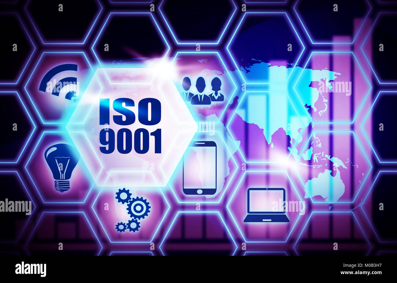 ISO 9001 concept illustration - Stock Image