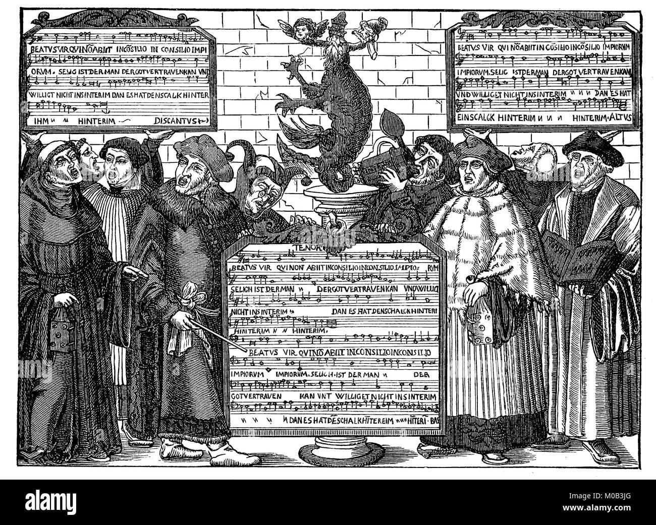 The mocking song on the interim, Latin meanwhile, is the term for a provisional settlement of ecclesiastical or - Stock Image