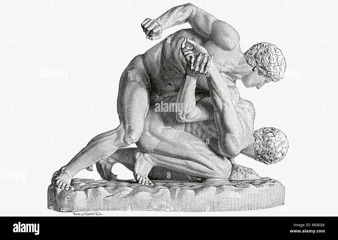 Sculpture, depicting a group of wrestlers, original in Florence, Italy, digital improved reproduction of an original - Stock Image