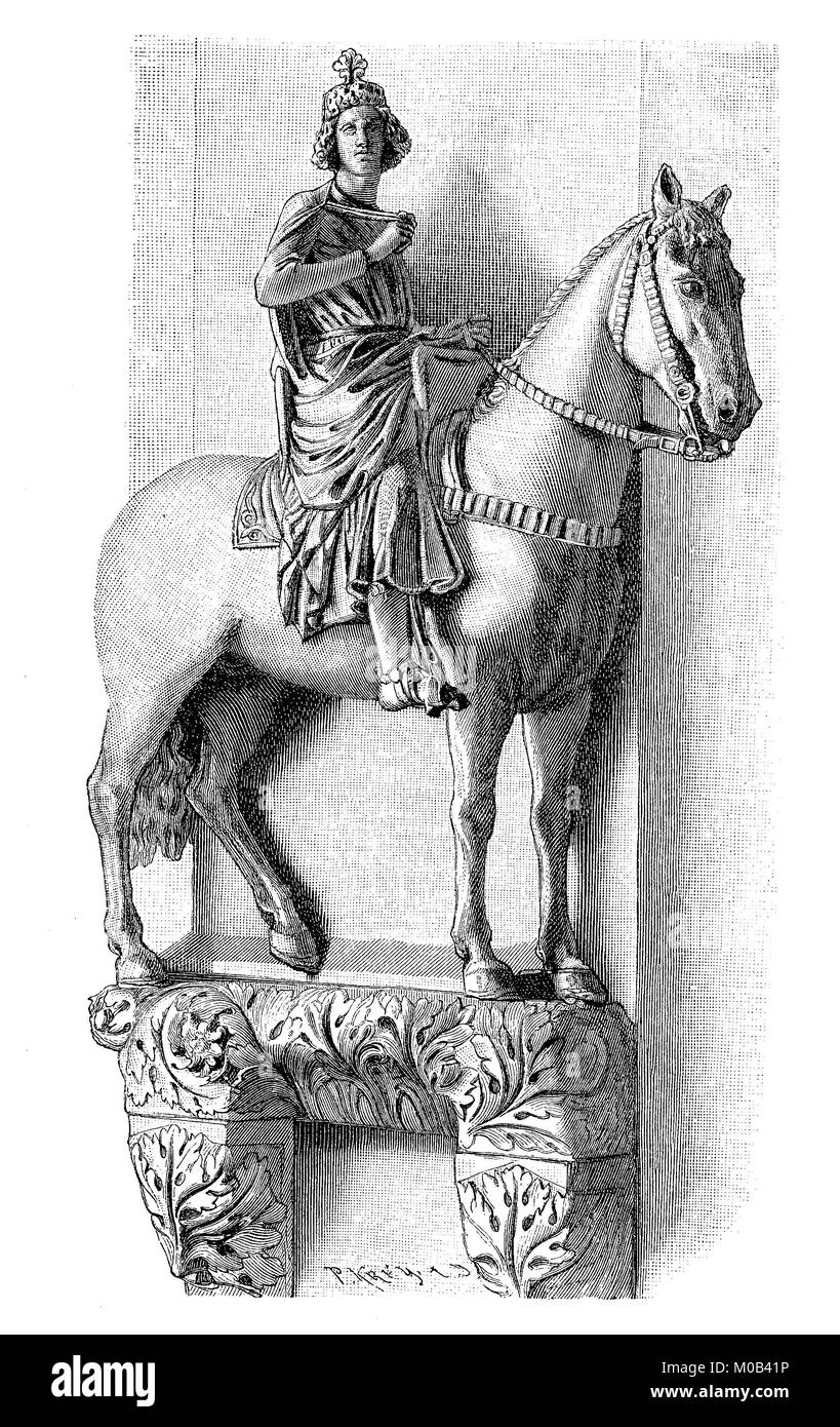 Bamberger Reiter, The equestrian statue Konrad III. in the cathedral of Bamberg, Germany, Konrad III, 1093 - 1152, - Stock Image