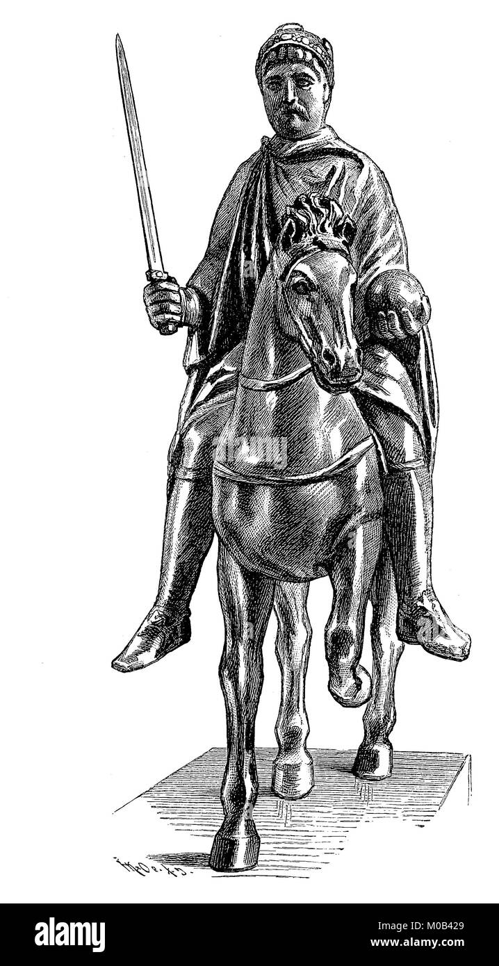 The bronze statue of Charlemagne, April 2, 747 or 748 - January 28, 814, was king of the Frankish Empire from 768 - Stock Image