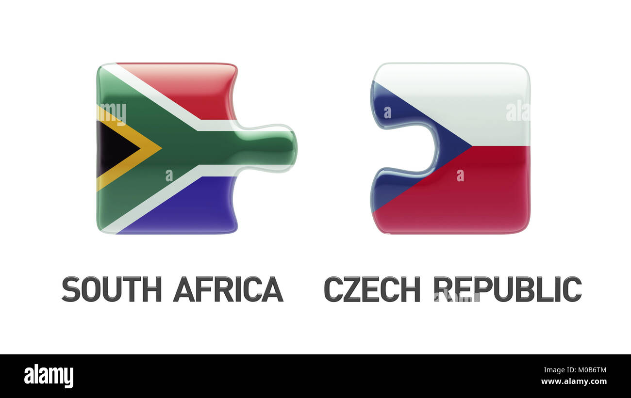 South Africa Czech Republic High Resolution Puzzle Concept Stock Photo