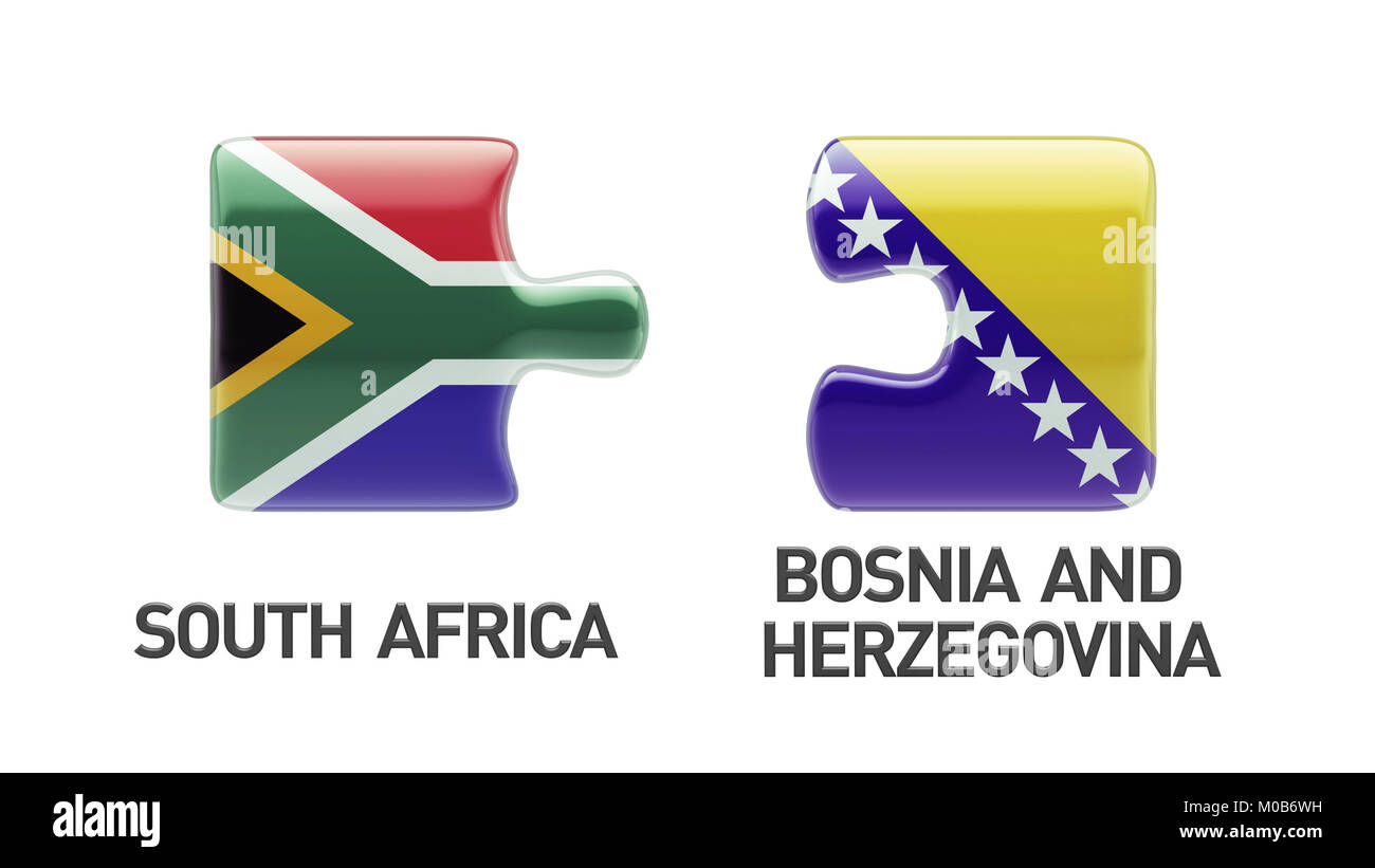 South Africa Bosnia and Herzegovina High Resolution Puzzle Concept - Stock Image