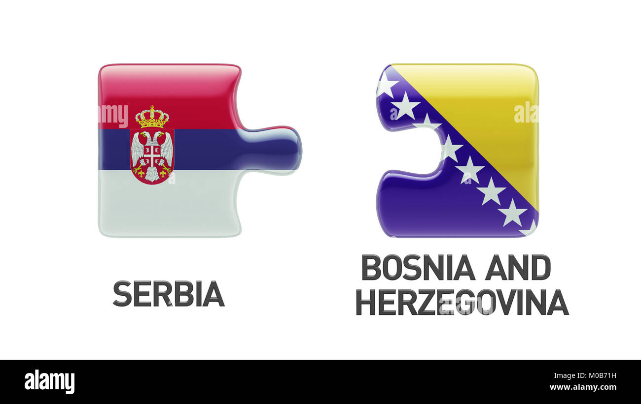 Serbia Bosnia and Herzegovina High Resolution Puzzle Concept - Stock Image