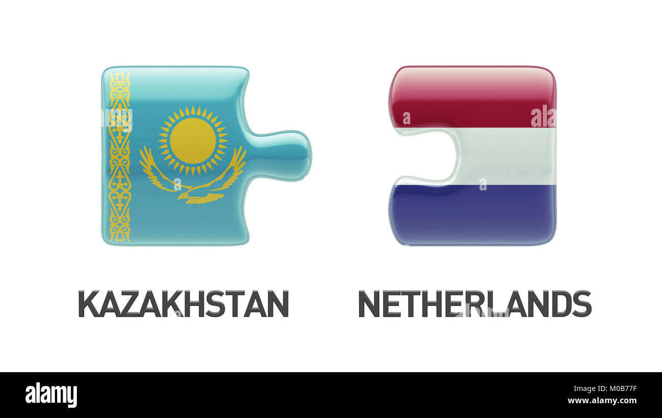 Kazakhstan Netherlands High Resolution Puzzle Concept Stock Photo