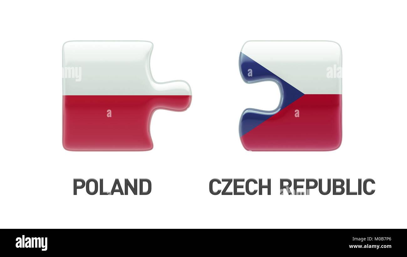 Poland Czech Republic High Resolution Puzzle Concept Stock Photo
