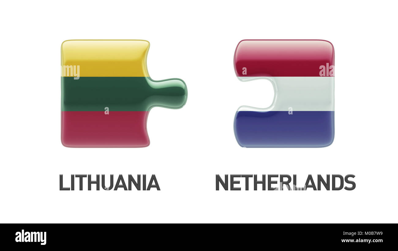 Lithuania Netherlands High Resolution Puzzle Concept Stock Photo