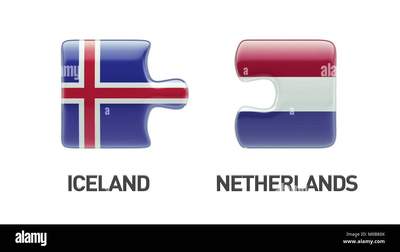 Iceland Netherlands High Resolution Puzzle Concept Stock Photo