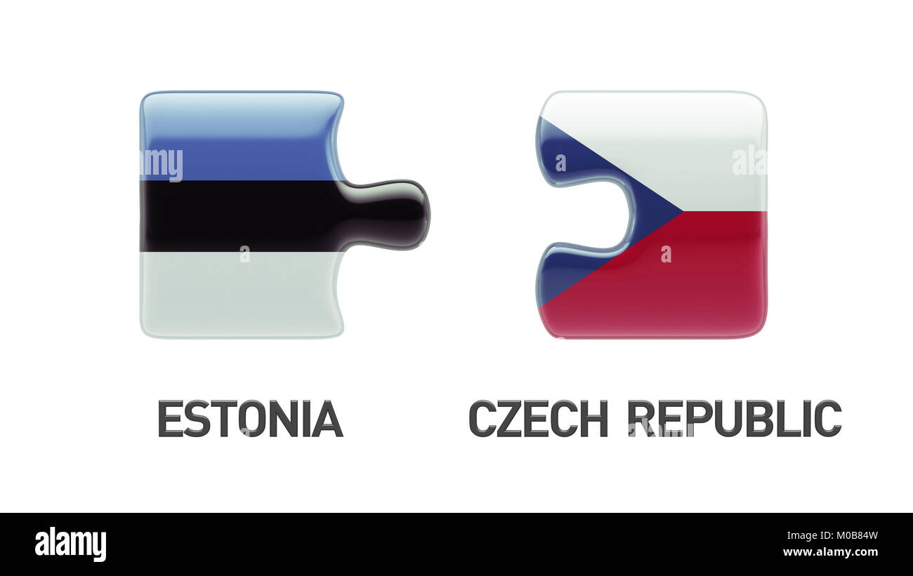 Estonia Czech Republic High Resolution Puzzle Concept Stock Photo