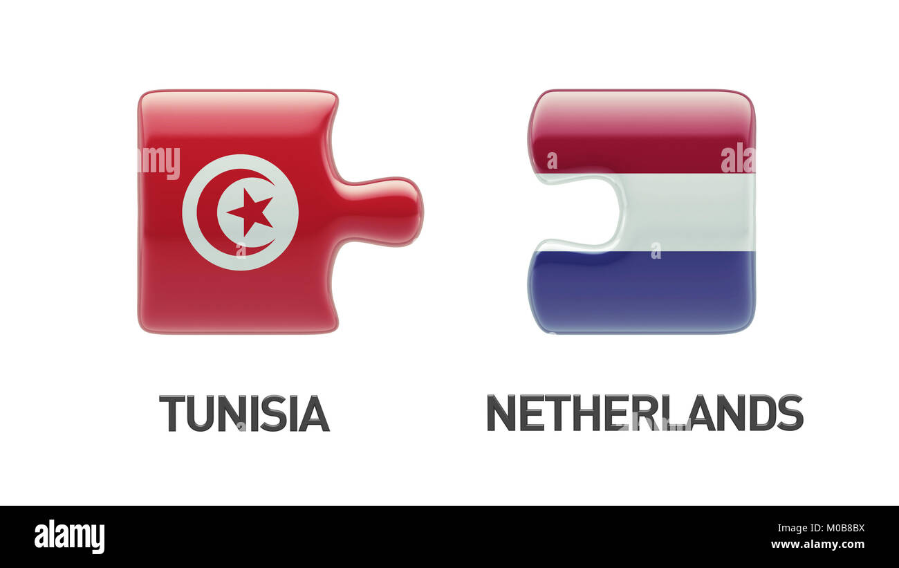 Tunisia Netherlands High Resolution Puzzle Concept Stock Photo