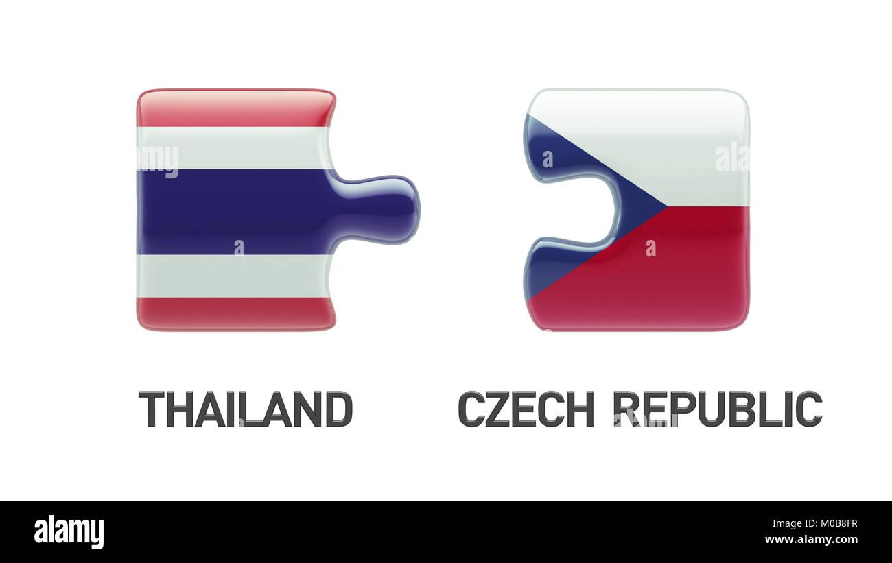 Thailand Czech Republic High Resolution Puzzle Concept Stock Photo