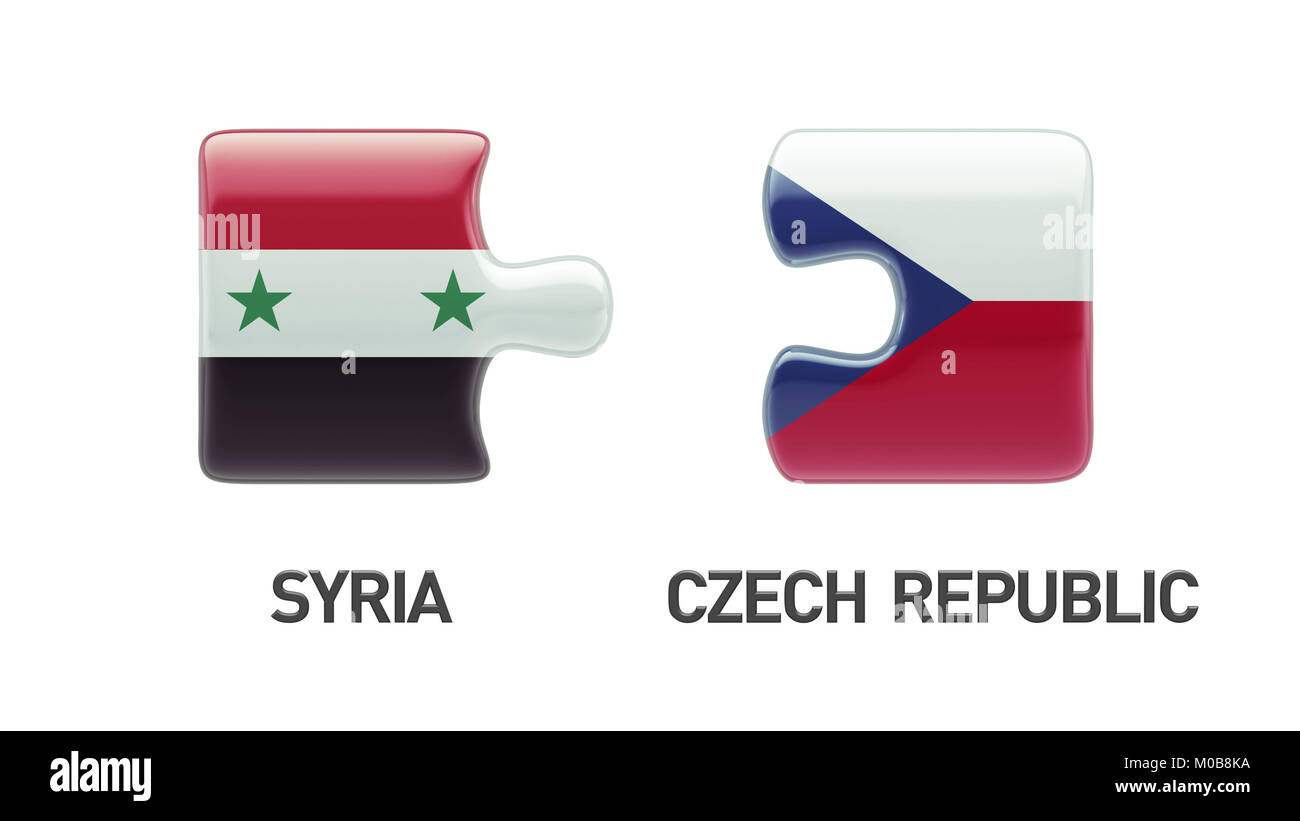 Syria Czech Republic High Resolution Puzzle Concept Stock Photo