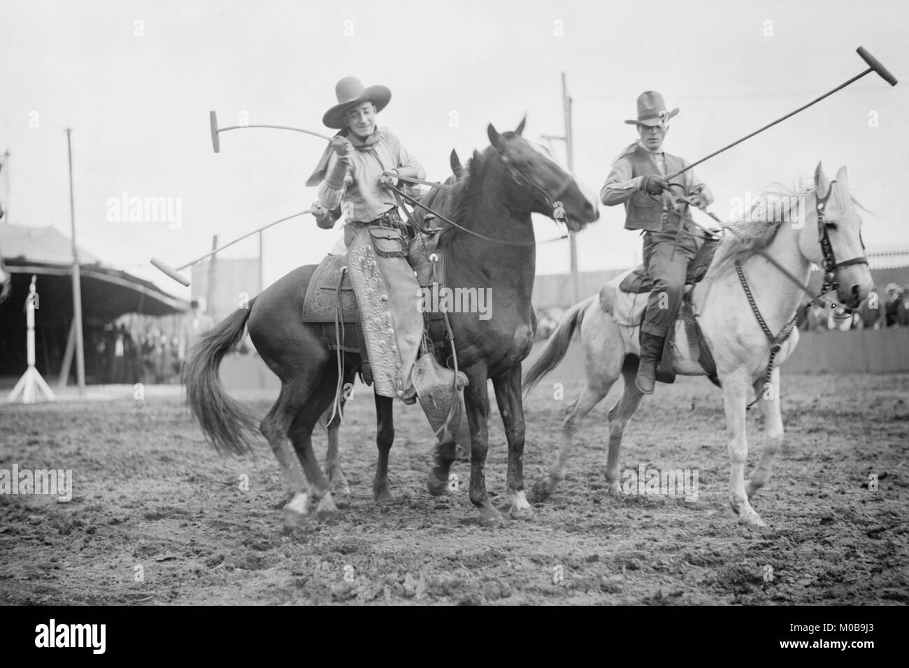Wild West Polo Played by Cowboys on Horses at Coney Island - Stock Image