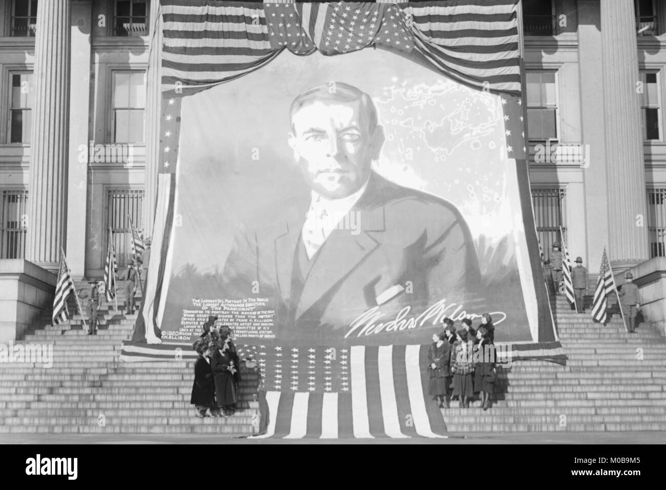 Huge Woodrow Wilson Painting on Fabric Draped in Front of Government Building - Stock Image