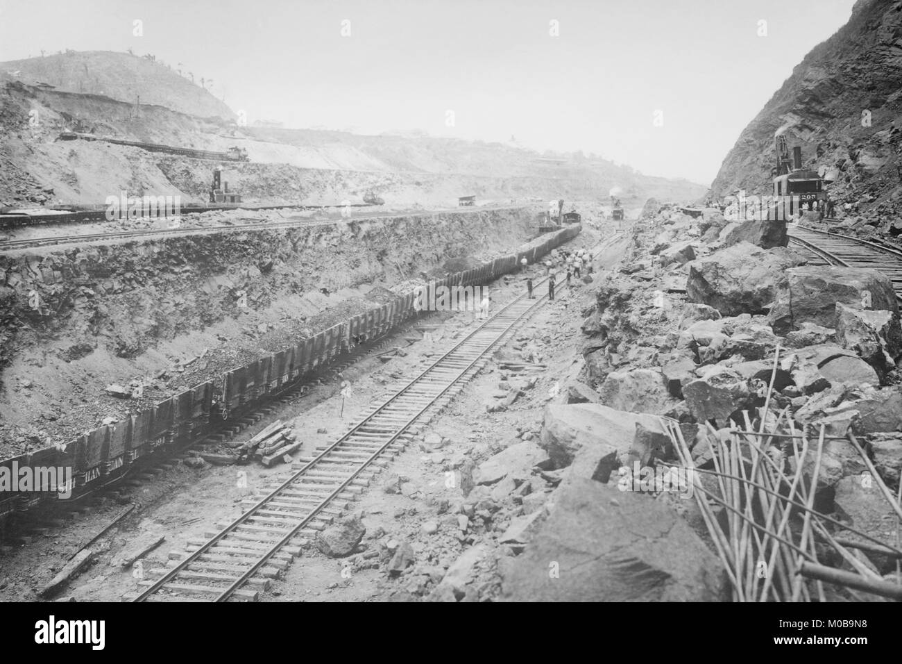 Twin Tracks Loaded with Earth Removed from Panama Canal Bed - Stock Image