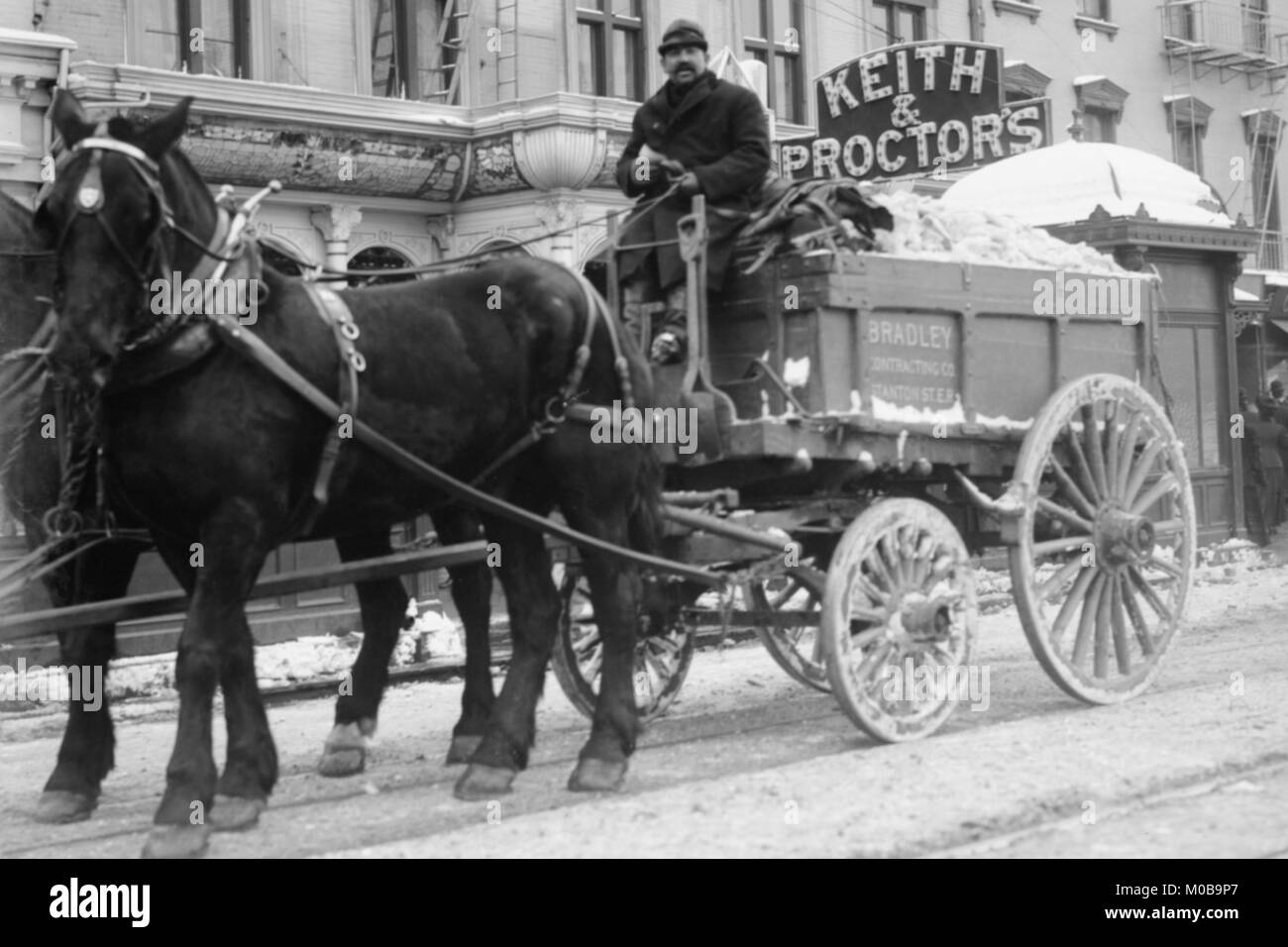 Carting Snow from New York Streets by Horse & Wagon - Stock Image