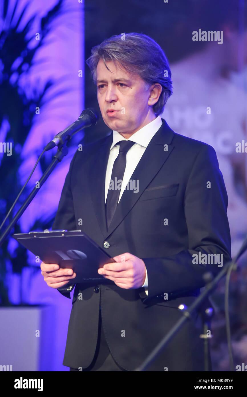 ZAGREB, CROATIA - 18th January, 2018 : Director of Klovicevi Dvori Gallery Antonio Picukaric holds the speech at Stock Photo