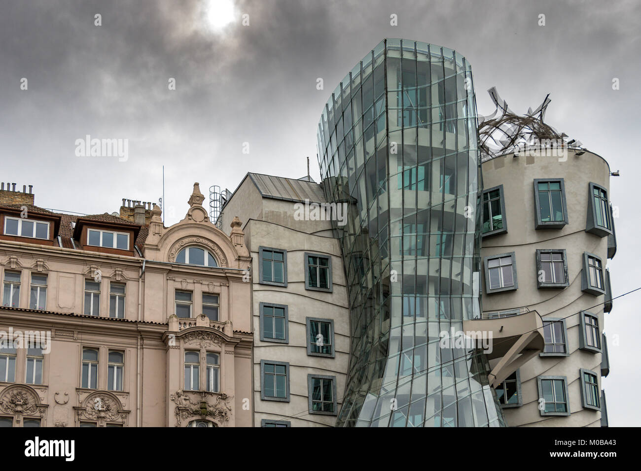 Nationale Nederlanden building or The Dancing House a significant landmark Building in Prague with a highly original - Stock Image