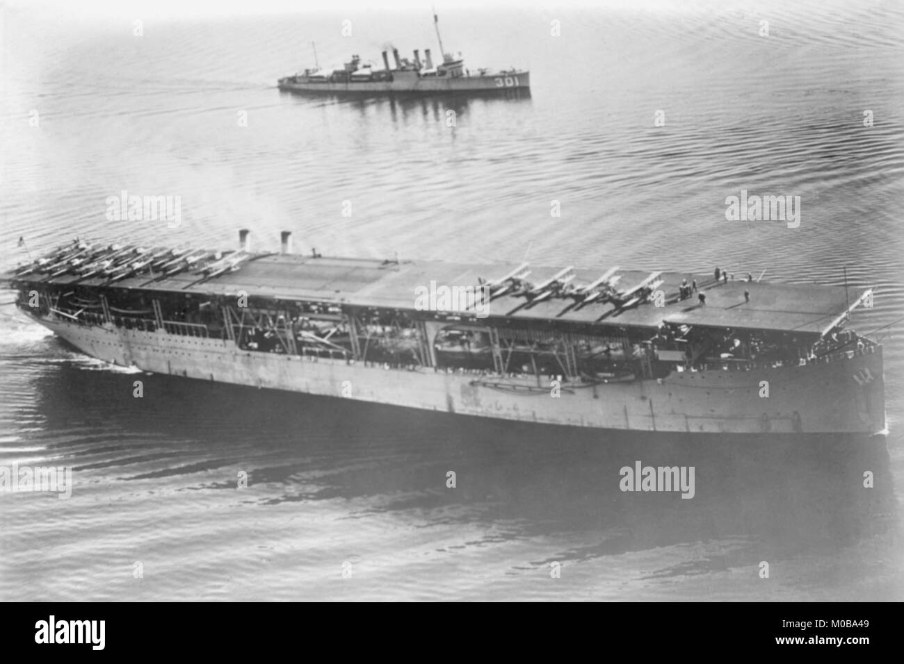 Langley Aircraft Carrier at Sea - Stock Image
