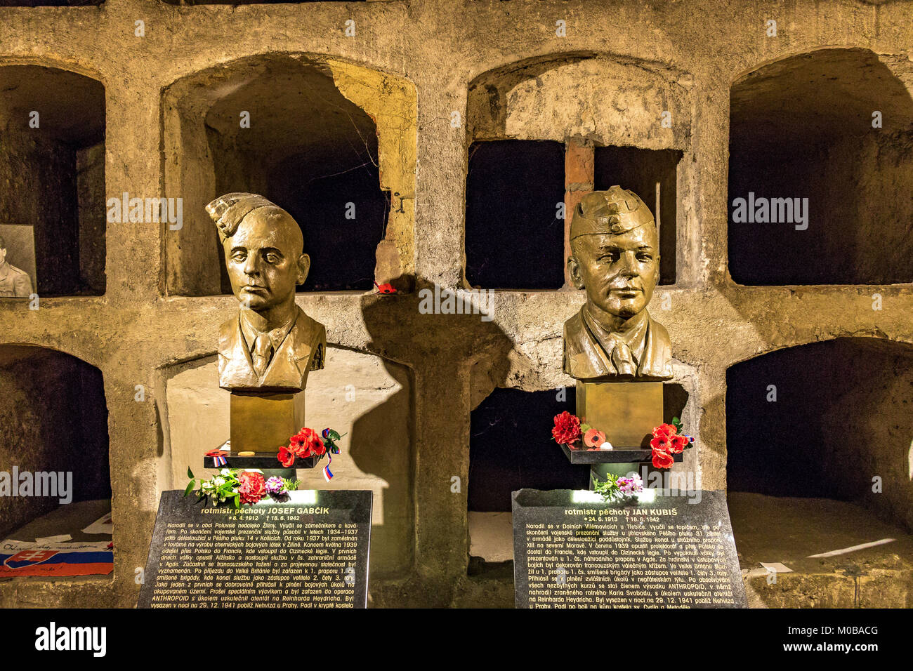 Bronze busts of Jan Kubiš and Jozef Gabčík who were killed in the Crypt Of St Cyrils Church Prague after the - Stock Image