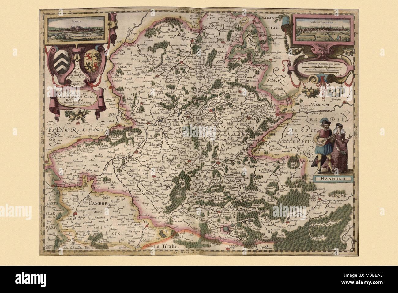 Maps of Hainot, Belgium - Stock Image