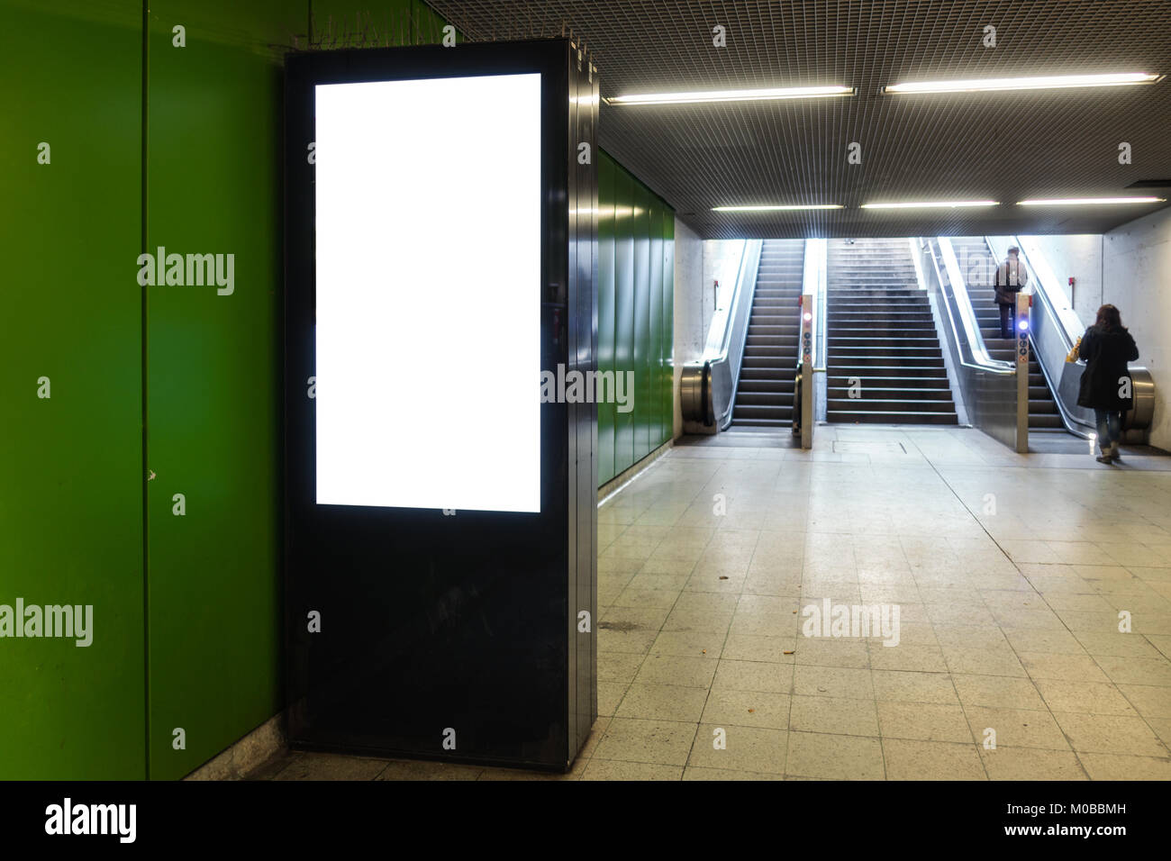 Advertisement Billboard Subway Station Electronic Digital Interior - Stock Image