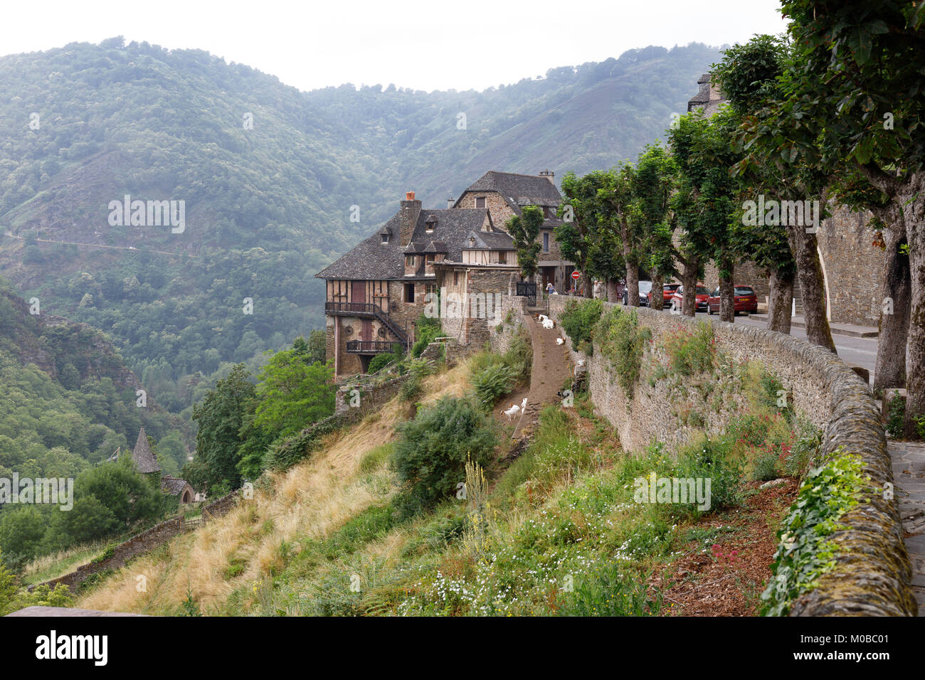 The Road out of Conques, Lot Valley, France. - Stock Image