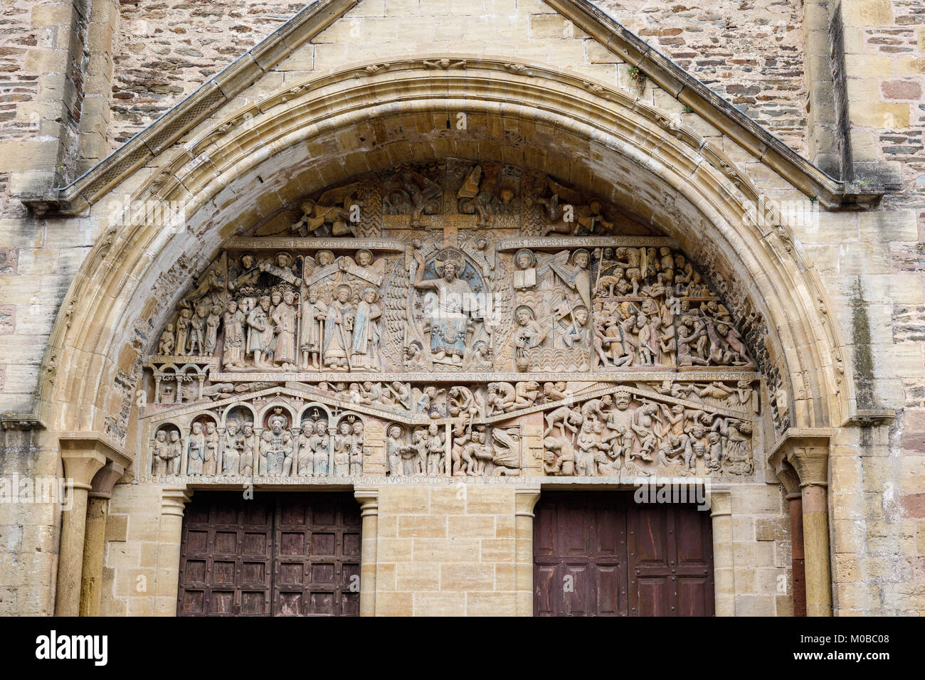Conques is labelled a Grand Site de France. In the heart of the Lot Valley, and is the  key stopping place on the - Stock Image