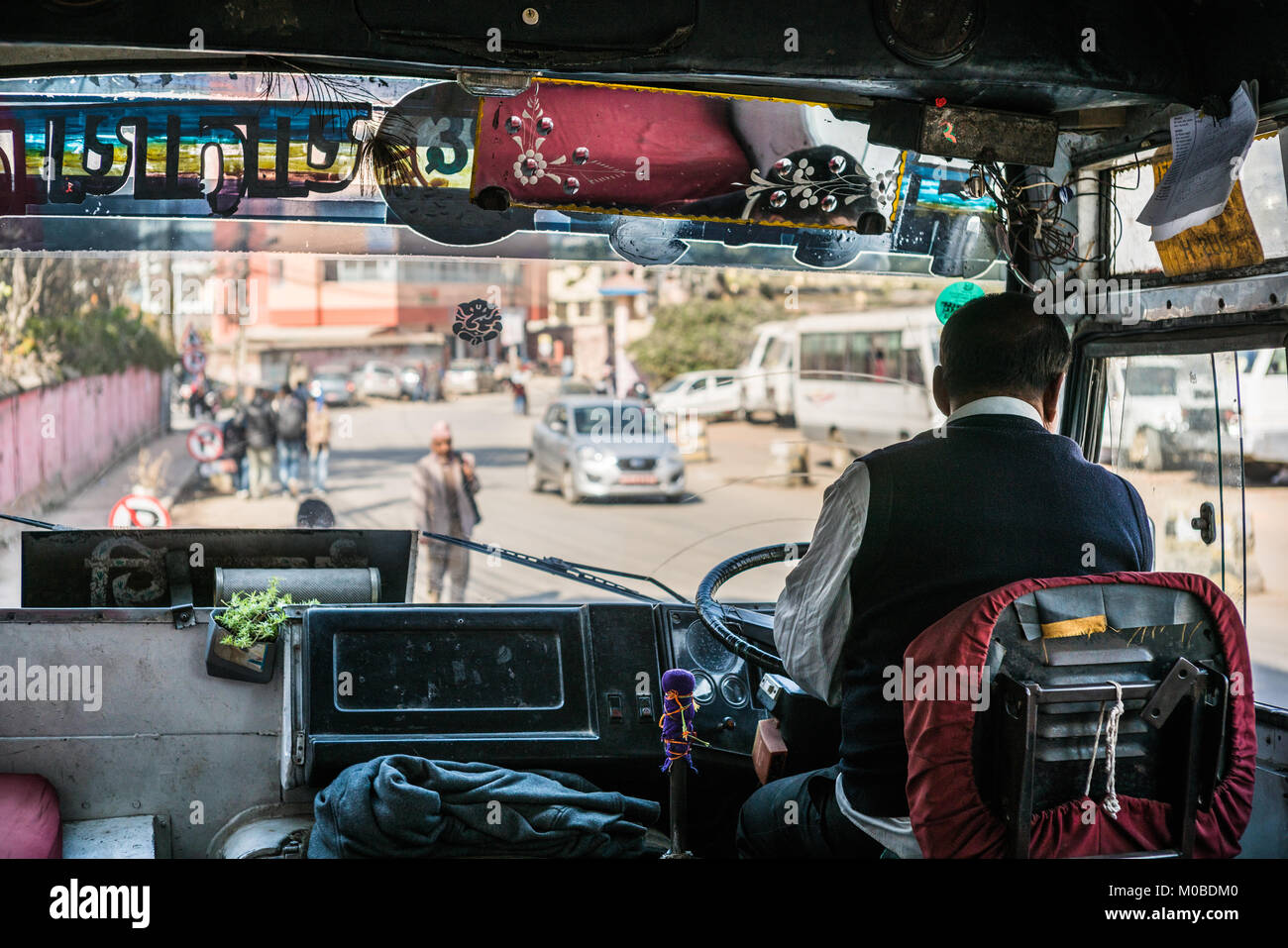 Interior of the public bus in the Kathmandu, Nepal, Asia. - Stock Image