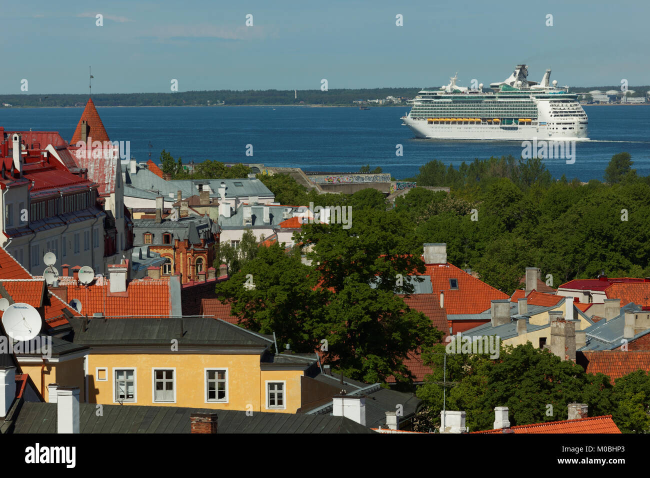 Tallinn, Estonia - June 10, 2017: Cruise liner Navigator Of The Seas departs from the port. The ship owned by Royal - Stock Image