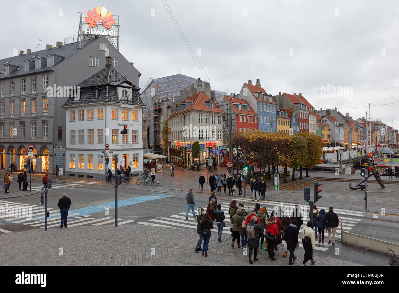 Copenhagen, Denmark - November 6, 2016: People on Kongens Nytorv square in an autumn day. The largest square of - Stock Image