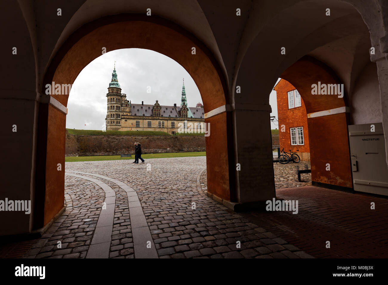 Helsingor, Denmark - November 6, 2016: Tourists in Kronborg castle in an autumn day. Since 2000, the castle is listed - Stock Image
