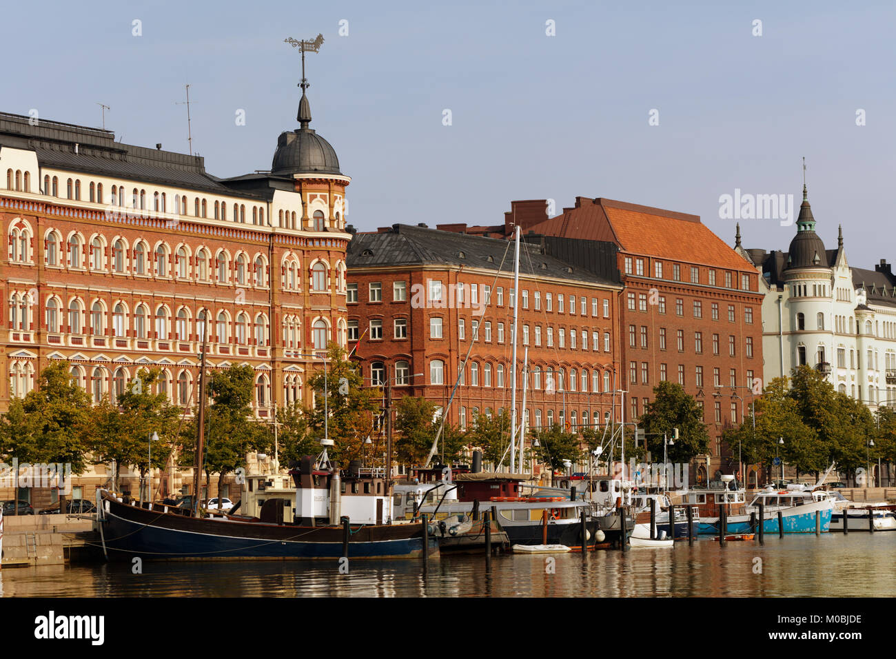 Helsinki, Finland - August 21, 2016: Boats moored at Pohjoisranta waterfront. The name of the area means North Beach - Stock Image