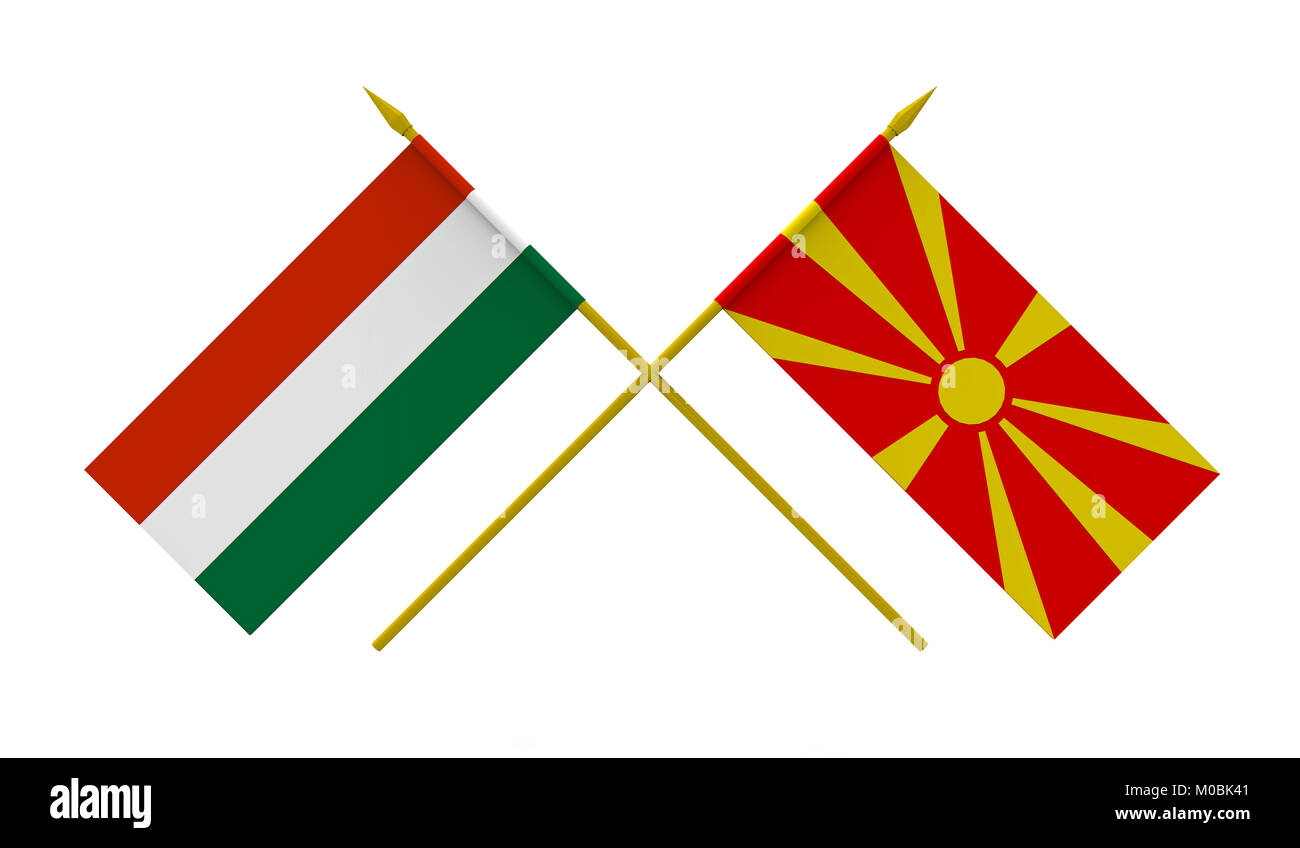 Flags of Hungary and Macedonia, 3d render, isolated on white - Stock Image